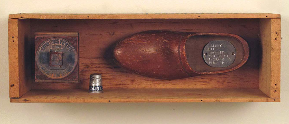 Cheese Box #21, wooden cheese box, found objects assemblage, 3.875 x 11.75 x 3.875 in., 06-28-10