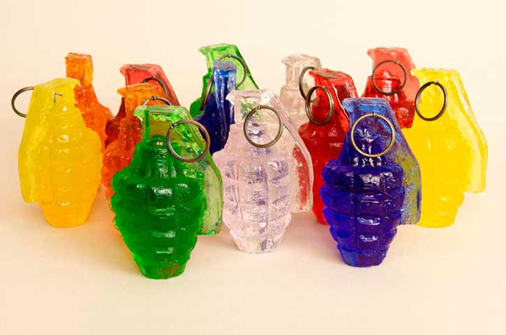 Grenades, casting polyester resin, 2008-09