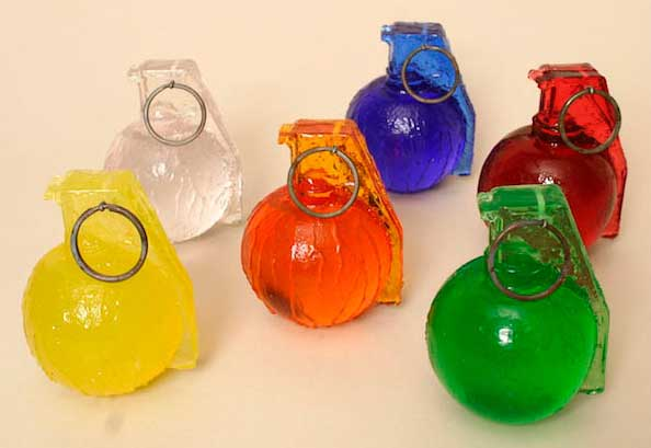 Grenade #2, Baseball, caster polyester resin of various colors, 3 x 25 x 25 in., edition of 30 of each color, 2010
