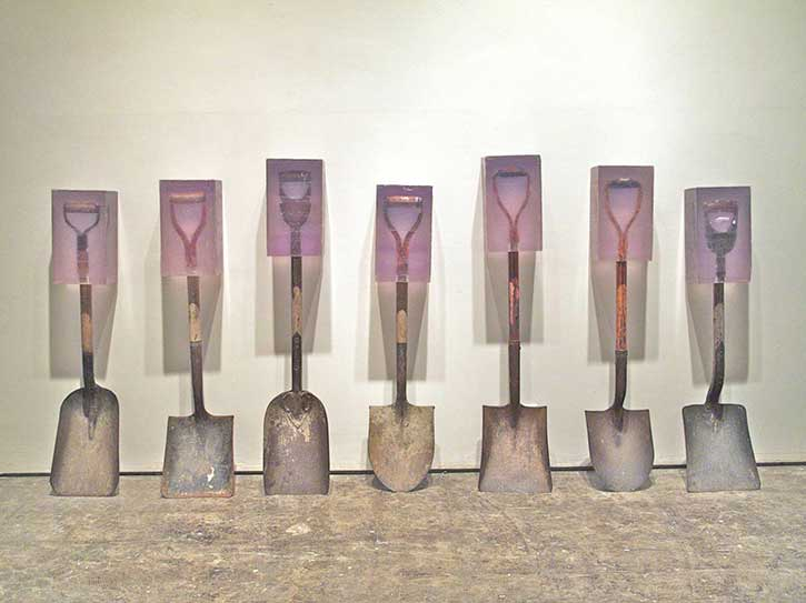 Dug #1 through #7, cast polyester resin and found shovel, 2010