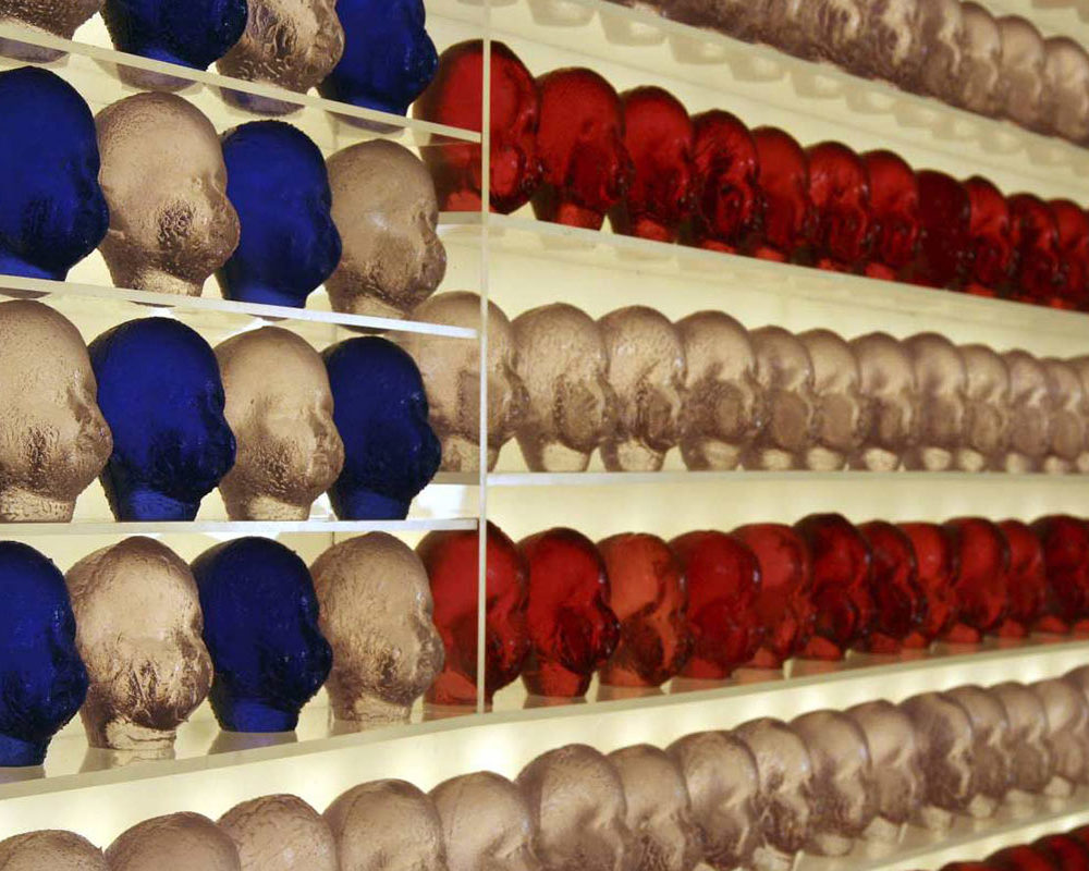 Flag, detail, polyester case resin and light box, 80 x 50 x 8 in., 2008