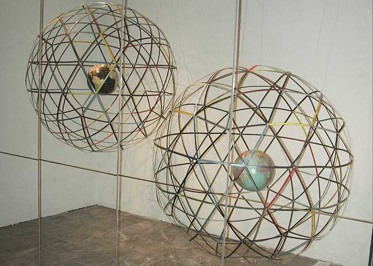 Globe 1, mixed media, various sizes, 2005, Lobot Gallery, Oakland, CA, 2005