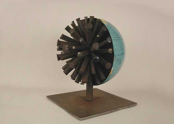 Globe 2, quarter view, mixed media, 16 x 12 x 12 in., 2004