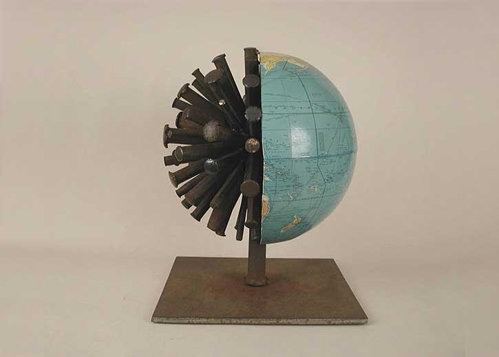 Globe 2, side view, mixed media, 16 x 12 x 12 in., 2004