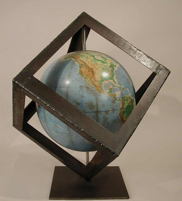 Globe 3, mixed media, 24 x 24 x 24 in., 2004, sold