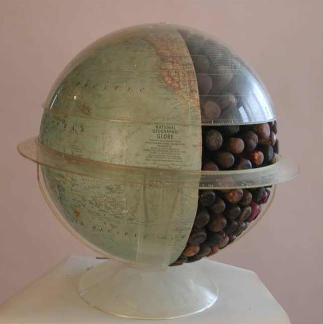 Globe 10, side view, mixed media, 18 x 18 x 18 in., 2009