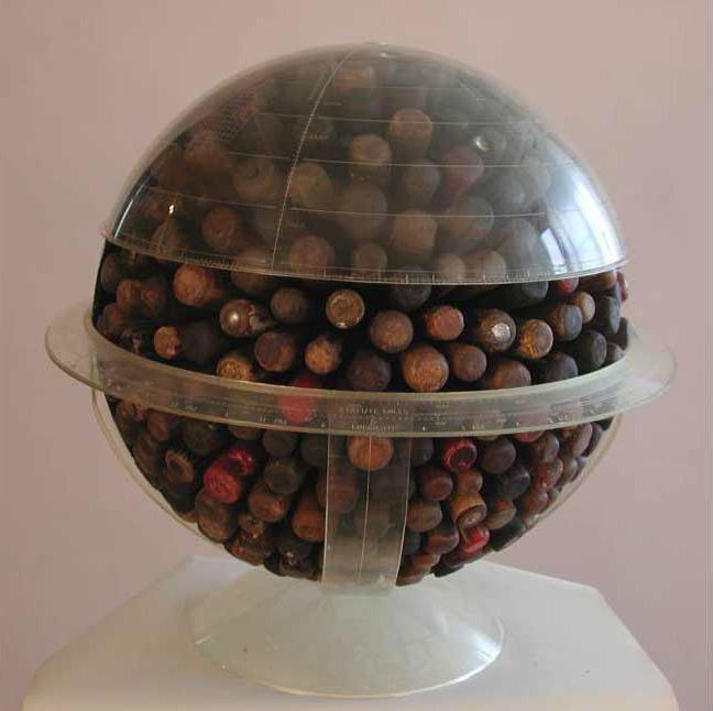 Globe 10, front view, mixed media, 18 x 18 x 18 in., 2009