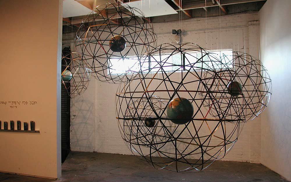 Globes 1a, 1b, 1c, 1d, 1e, various sizes, Lobot Gallery, Oakland, CA, 2005