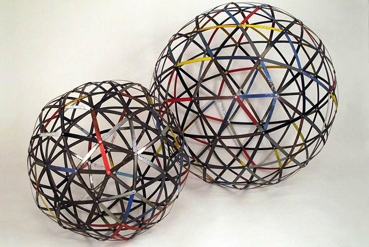 Sphere #2, #3, mixed media, found hack saw blades and hardware, 25 x 25 x 25 in. & 27 x 27 x 27 in., 2011