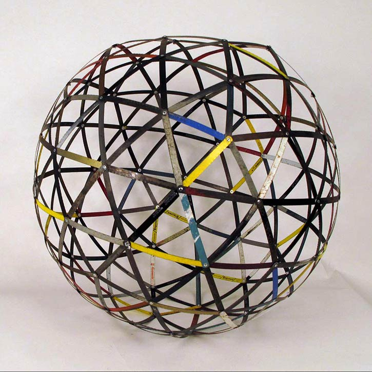 Sphere #5, mixed media, found hacksaw blades and hardware, 27 x 27 x 27 in., 2011