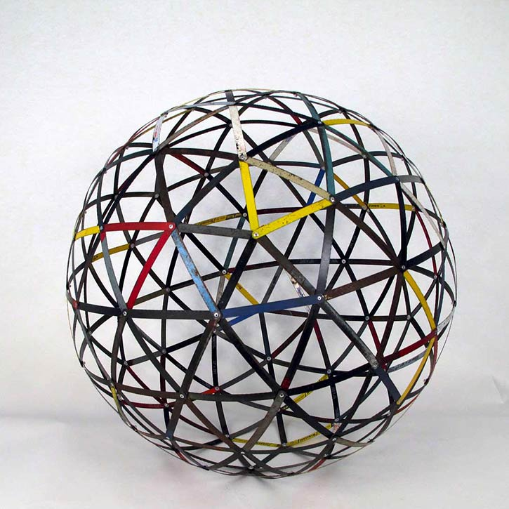 Sphere #5, mixed media, found hack saw blades and hardware, 27 x 27 x 27 in., 2011