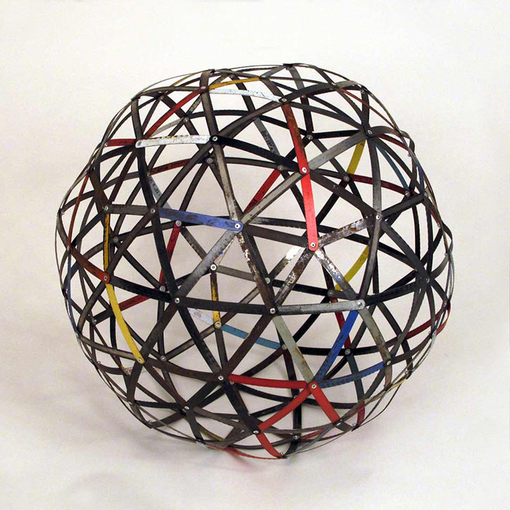Sphere #2, mixed media, found hacksaw blades and hardware, 27 x 27 x 27 in., 2011