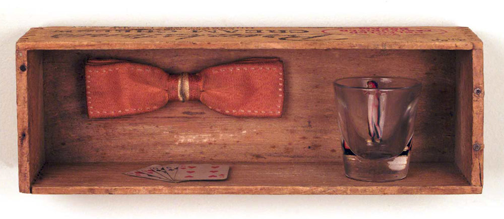 Cheese Box #38, wooden cheese box, found objects assemblage, 3.5 x 10.675 x 3 in., 09-23-10