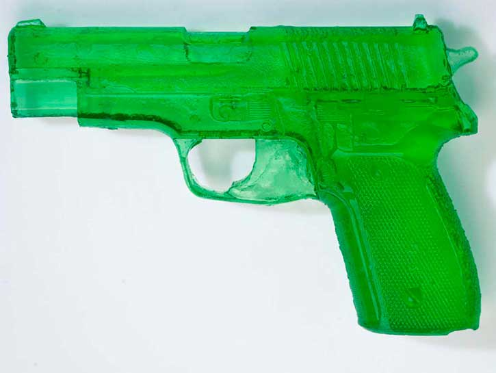 45 Caliber Pistol, cast polyester resin, 5.25 x 7.75 x 1.25 in., 2010