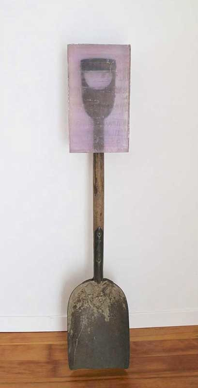 Dug #8, caste polyester resin and found shovel, various sizes, 2011-2014