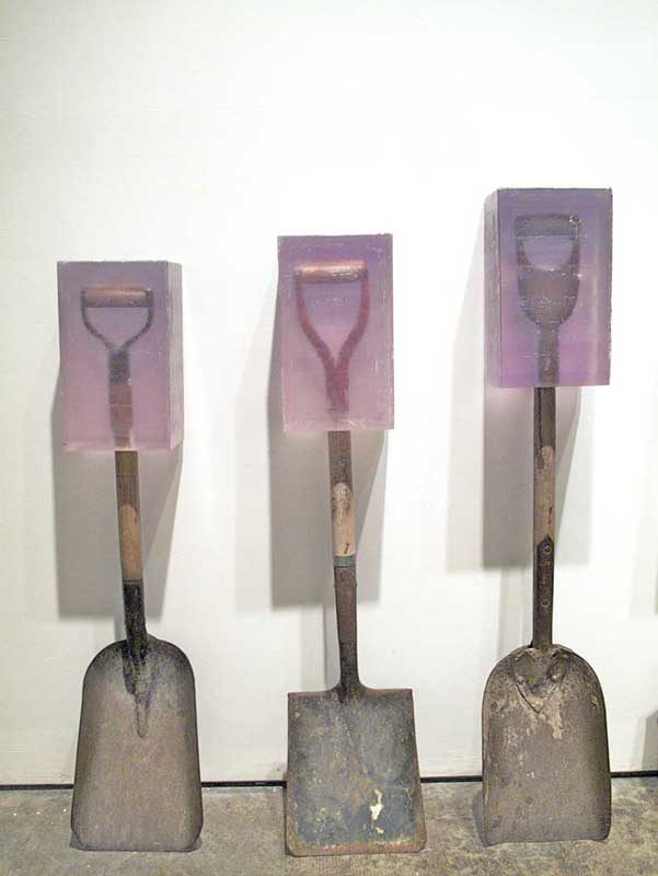 Dug #3, #1, #2, cast polyester resin and found shovel, 2011-2014