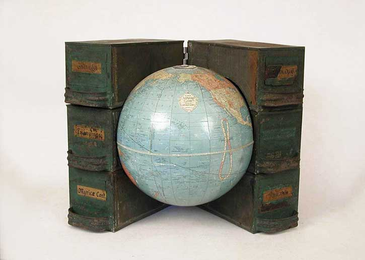 Globe 5, mixed media, 12 x 16 x 14 in., 2006