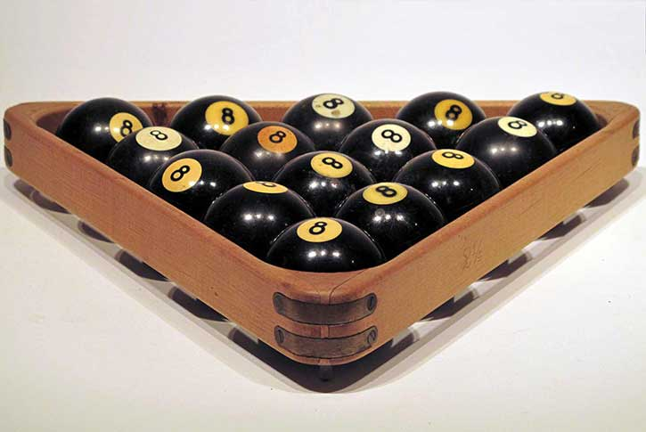 8 Ball, 8 balls, wooden rack, acrylic rod, 2 x 13 x 12 in., 2012