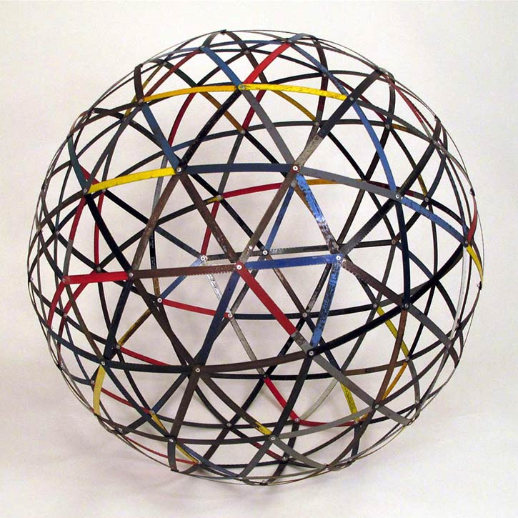 Sphere #3, mixed media, found hack saw blades and hardware, 25 x 25 x 25 in., 2011