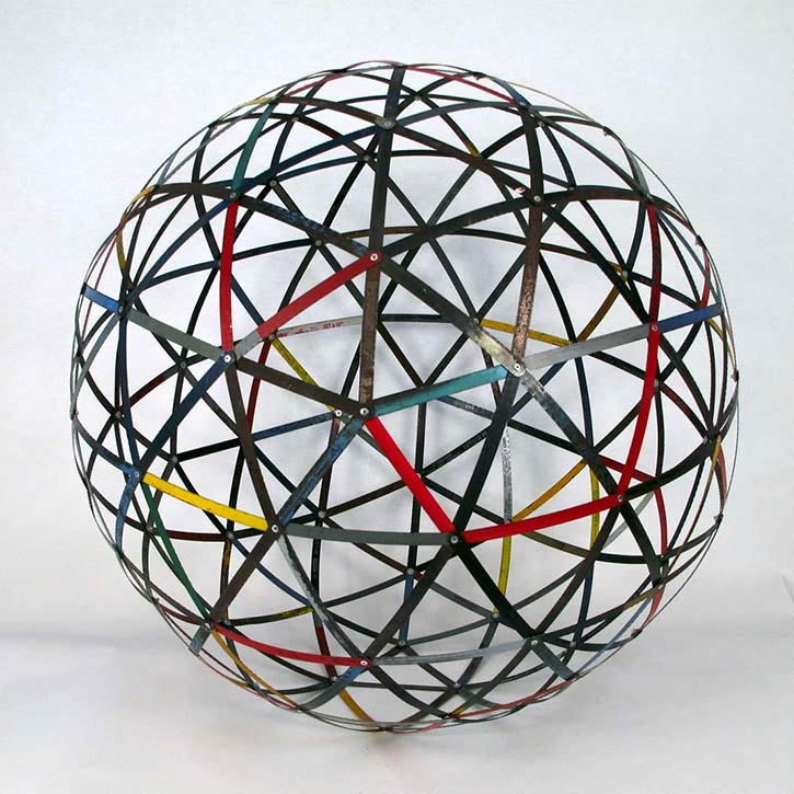 Sphere #4, mixed media, found hack saw blades and hardware, 30 x 30 x 30 in., 2011
