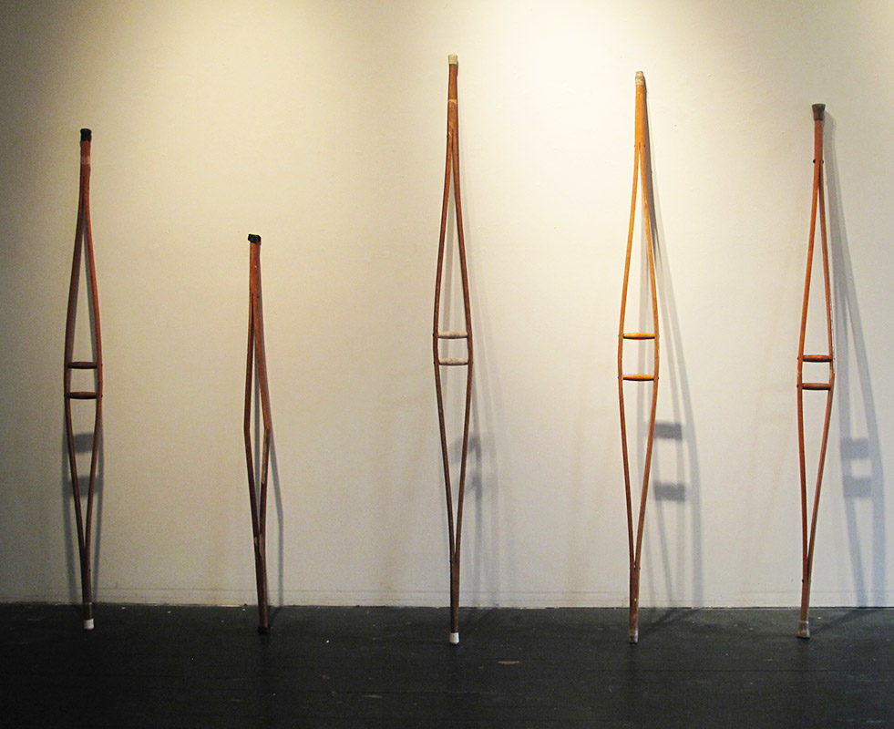 Crutches (bottoms), installation, 2017